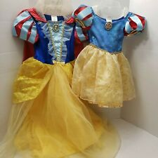 2 Disney Store Snow White Deluxe Princess Costume Girl Dress Sister Lot 7/8 2/3