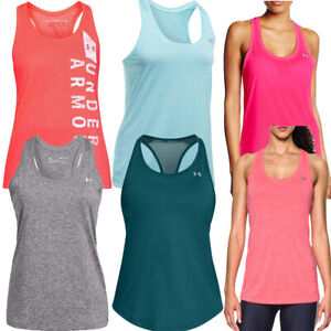 Under Armour Womens Tech Tank Vests Twist Sleeveless Top Gym Pullover Tanks Pink