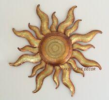 Golden Sun Celestial Wall Art Metal Gold Sunburst Garden Decor Regal Gift Arts