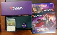 THRONE OF ELDRAINE BUNDLE BOX, LANDS, ARTWORK, AND OVERSIZED D20!