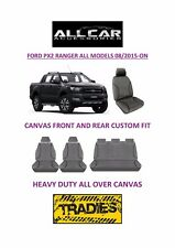Canvas Car Seat Covers Front&Rear Custom Fit Ford Ranger PX2 Dual Cab 08/2015-On