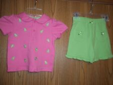 B Kids Girls Size 24M 2 Piece Top Shorts Pink Green Frogs