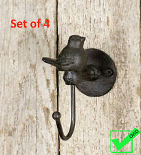 Lot Set of 4 Cast Iron Coat Hat towel robe Bird WALL HOOKS Rustic Metal vintage