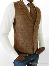 Wool Blend Men Brown Herringbone Tweed Plaid Vest Tuxedo Wedding Waistcoat