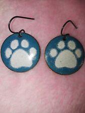 Artisan Made Wedgewood Blue Enamel Paw Print Earrings
