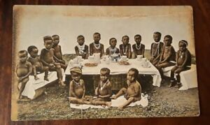 South Africa Native Black Children - Young Springboks - tinted postcard 1913.