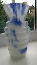 Bohemian art deco blue and white marbled glass vase