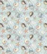 Nautical Fabric - Susan Winget Boho Coastal Shell Toss Blue - Springs YARD