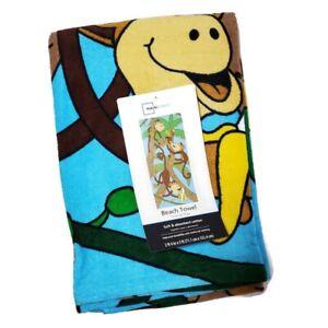 "Mainstays Beach Bath Towel Monkey in Trees Kids 28""X60"" Pool Beach Vacation NWT"