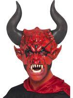 Disfraz de Halloween hombre DIABLO LORD Látex Máscara Rojo de Smiffys NUEVO