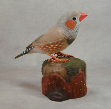 Zebra Finch Original Bird Wood Carving