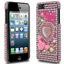 Bling Diamond Diamante Crystal Gem Heart Bow Back Case Cover for Apple iPhone 5
