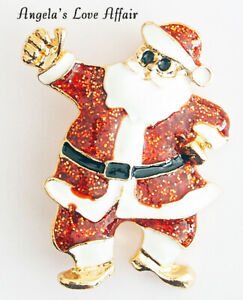 CHRISTMASY GOLD ENAMEL RED GLITTER SANTA CLAUS FATHER CHRISTMAS BROOCH BADGE PIN