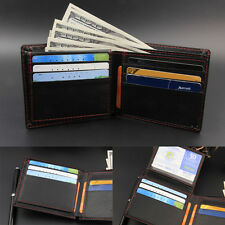 Bifold Wallet Mens Leather Black Credit/ID Card Holder Slim Trifold Purse Clutch
