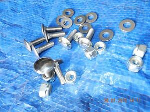 "MF35 Tractor Bonnet BOLTS. Polished Stainless Steel.+nuts& washers1/4""6mm. per 8"