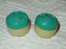 """Vintage Plastic Green White Mini Salt Pepper Shaker 1.25"""""""