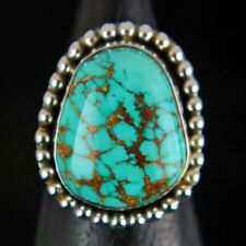 Navajo Handmade Sterling Silver Natural Genuine ROYSTON Turquoise Ring Sz-10+-