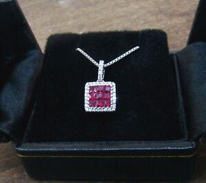 Costco JLJ 14K White Gold Diamond & Ruby Pendant & Chain