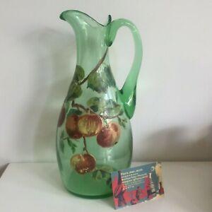 Antik Krug Normand Für Apfelwein aus Glas Emailliert Dekor Äpfel
