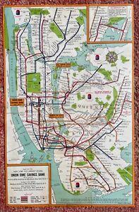 1960's UNION DIME SAVINGS BANK New York City Subway Map