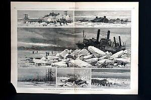 Artic Ice Upper Mississippi 1883 ICE BLOCKADE Steamer Stuck Lg Folio Engraving