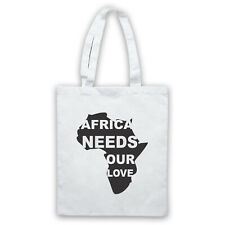AFRICA NEEDS OUR LOVE PROTEST SLOGAN CHARITY HUNGER SHOULDER TOTE SHOP BAG