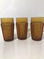 3 Vintage Indiana Glass Amber Diamond Point Tumblers