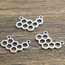 20pcs QUEEN BEE Honeycomb Charms Silver Plated Honeycomb Charm pendant 14x24mm