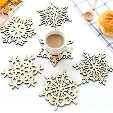 Wooden Carved Snowflake XMAS Mug Coasters Holder Coffee Tea Drinks Cup Mat