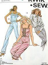 Vtg 80s womens jumpsuit pattern Kwik Sew sz all XS S M L jacket ruffle neck