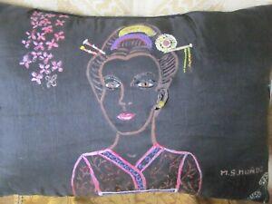 Collectible Artisan Accent Pillow Handmade Detail Geisha
