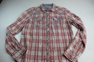 Buffalo David Bitton Reddish Blue Plaid Trucker Snap Button Shirt M 15.5 x 34/35