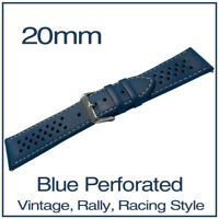 • 20mm Blue Perforated Luxury Leather Vintage Racing Rally Style Watch Strap •