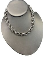 Vintage 1950S Silvertone Rope Strand Heavy Chunky Chain Necklace Hook Clasp 15""