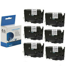 """6x Label Tape 12mm 0.47"""" Black on Clear for Brother TZ131 Tze131 P-Touch PT-D120"""