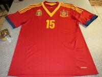 SPAIN SOCCER TEAM RAMOS ADIDAS RED MEN'S 2010 FIFA SIZE LARGE #15 NICE SHAPE