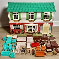 VTG Wolverine 2 Story Colonial Tin Litho Metal Dollhouse 40+ Pcs Furniture Decor