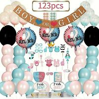 LECIP Gender Reveal Decoration Kit With 123 Pieces Baby Party Supplies