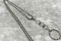 Crystal & Silver Chain Lanyard with Abacus Beads, Badge ID Holder Breakaway Opt.