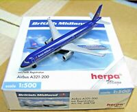 Herpa Wings 1:500 508728 British Midland Airbus A321-200 Die-cast Airplane Model