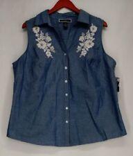 Camicia da donna blu senza maniche