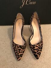 J.CREW COLETTE D'ORSAY PUMPS IN LEOPARD CALF HAIR SIZE 8M WALNUT BROWN F5532
