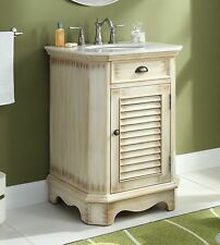 "24"" Cottage Style Distress Beige Abbeville Bathroom Sink Vanity # CF47523A"