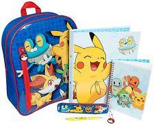 Mochila Escolar De Pokemon estacionario Set Carpeta de Anillo Portátil Estuche Pluma De Bolsa