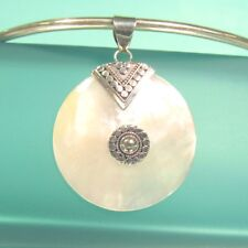 """Shell Handmade 925 Sterling Silver Pendant 1 1/2"""" Round Mother of Pearl"""