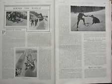1902 PRINT ~ ROUND THE WORLD WINTER IN CANADA SKI-ING LESSONS CANADIAN RUN