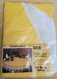 """Vintage Yellow W/ White Fringe  Flannel Backed Vinyl Tablecloth 60"""" Round"""