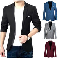Mens Slim Fit Stylish Formal Casual One Button Suit Blazers Business Coat Jacket