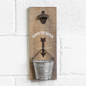 Wall Mounted Bottle Opener with Cap Catcher Rustic Vintage Wooden Sign Plaque