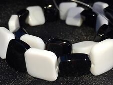 Semi Precious Black and White Agate Bead String - Large Square (Size 15 mm)